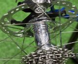 White Industries' disc hub with 135mm spacing on IF's Titanium Factory Lightweight Cyclocross Bike. ©Cyclocross Magazine