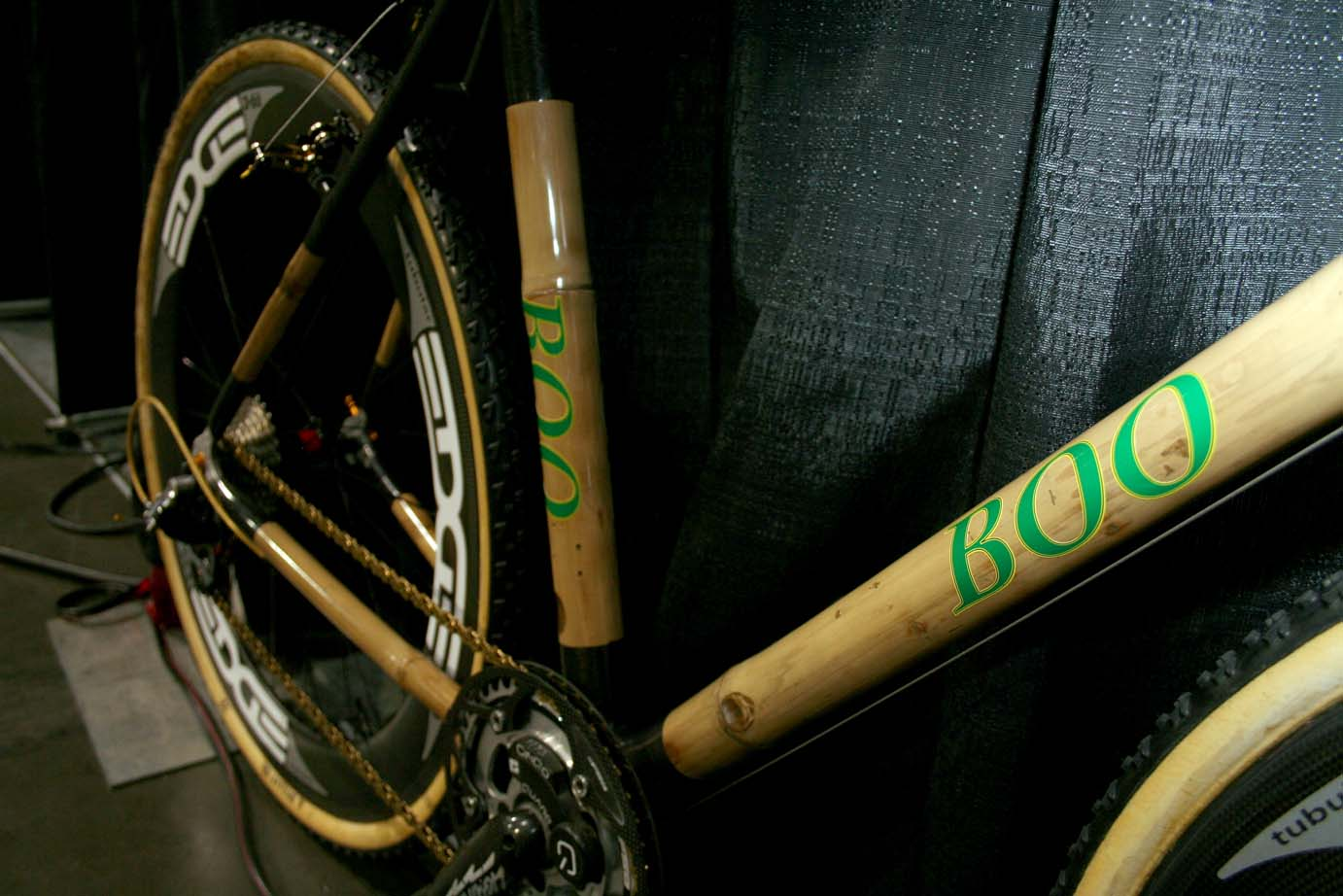Boo\'s hand-made, bamboo and carbon cyclocross bike at Interbike
