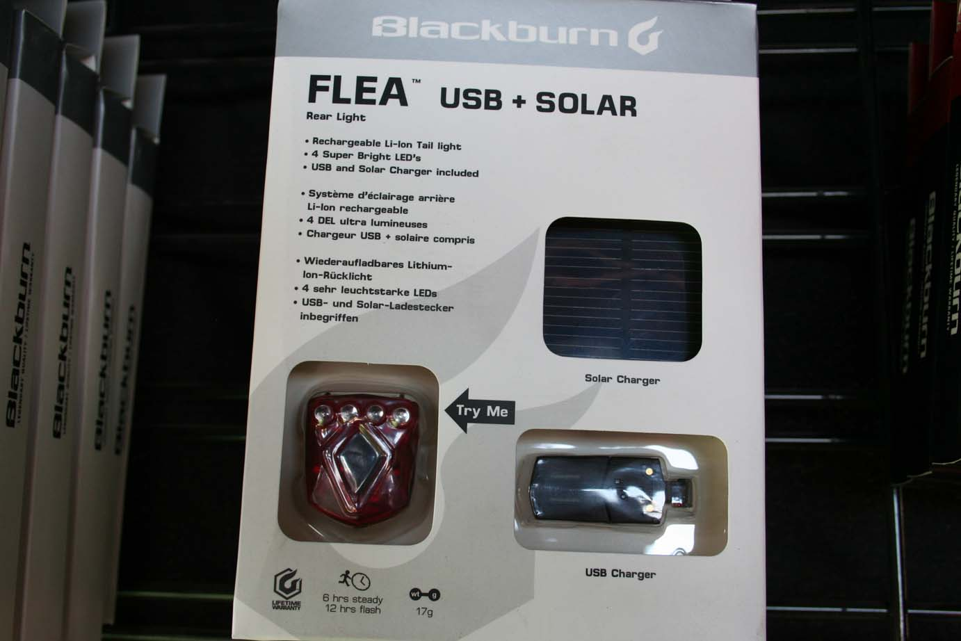 Blackburn offers a new USB and Solar-charged LED light, in front or rear formats.
