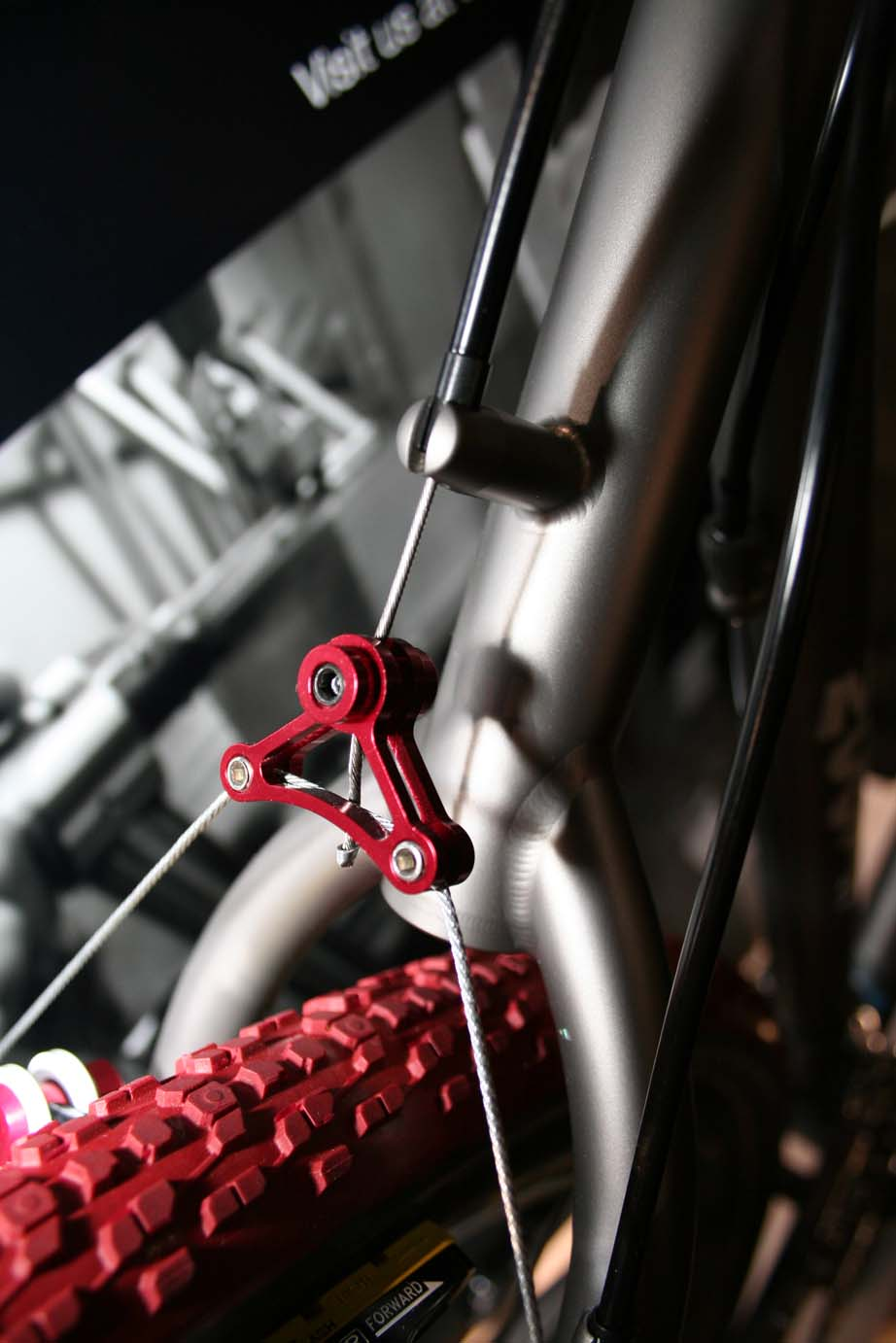 Intricate welds, elegant fittings, and red trim made this an eye-catching show bike. ?Cyclocross Magazine