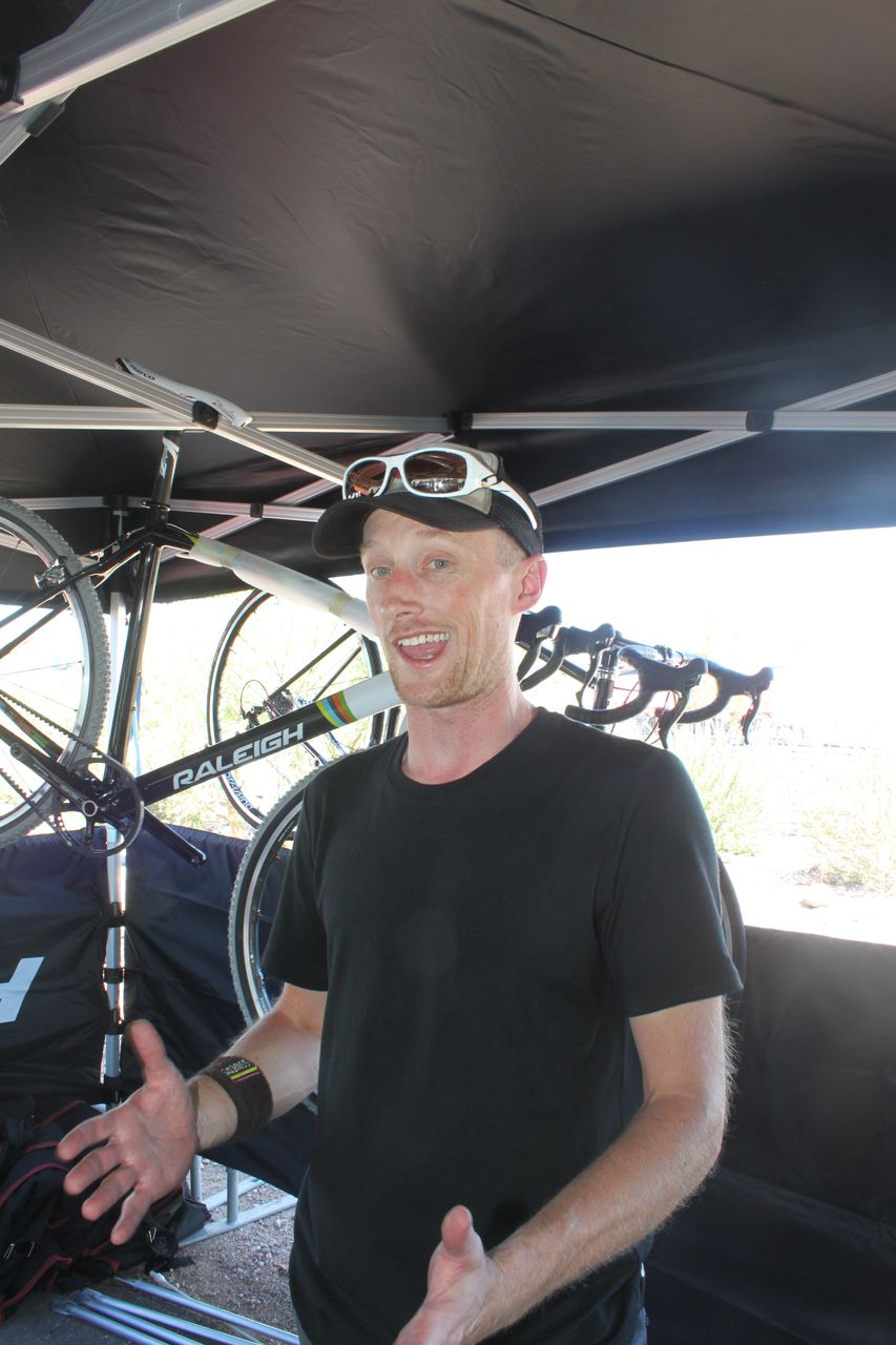 Raleigh\'s Brian Fornes explains the inspiriation behind the new carbon SSCXWC bike. Cyclocross @ Interbike 2010. © Cyclocross Magazine