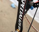 Todd Wells' 2012 Specialized Crux Expert utilizes Specialized's own carbon crankset and Crank Brothers Eggbeater 11 titanium pedals. © Cyclocross Magazine