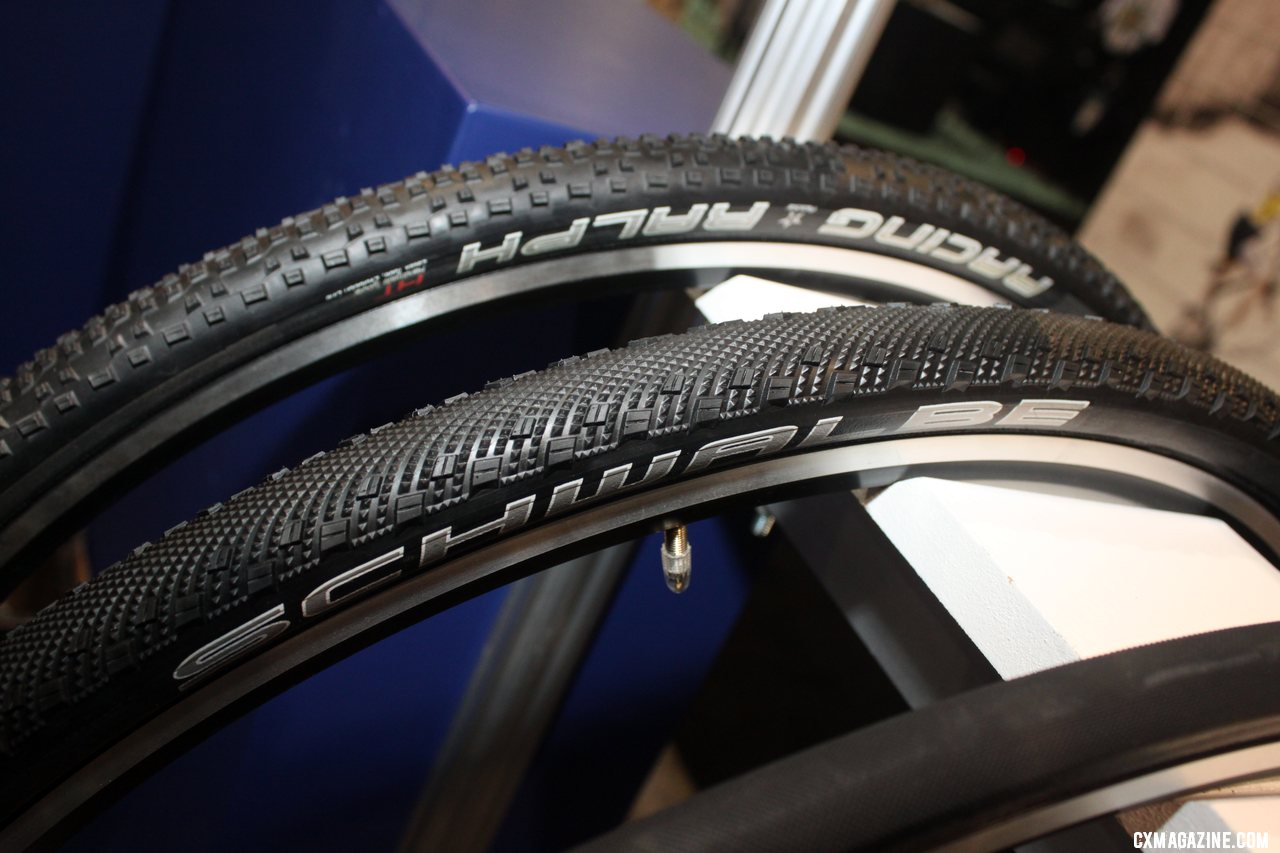 Schwalbe\'s tubulars now adds about 1mm more to its width and height, and adds a Sammy Slick tread option to its growing tubular line-up. Cyclocross Tires at Interbike 2011. © Cyclocross Magazine