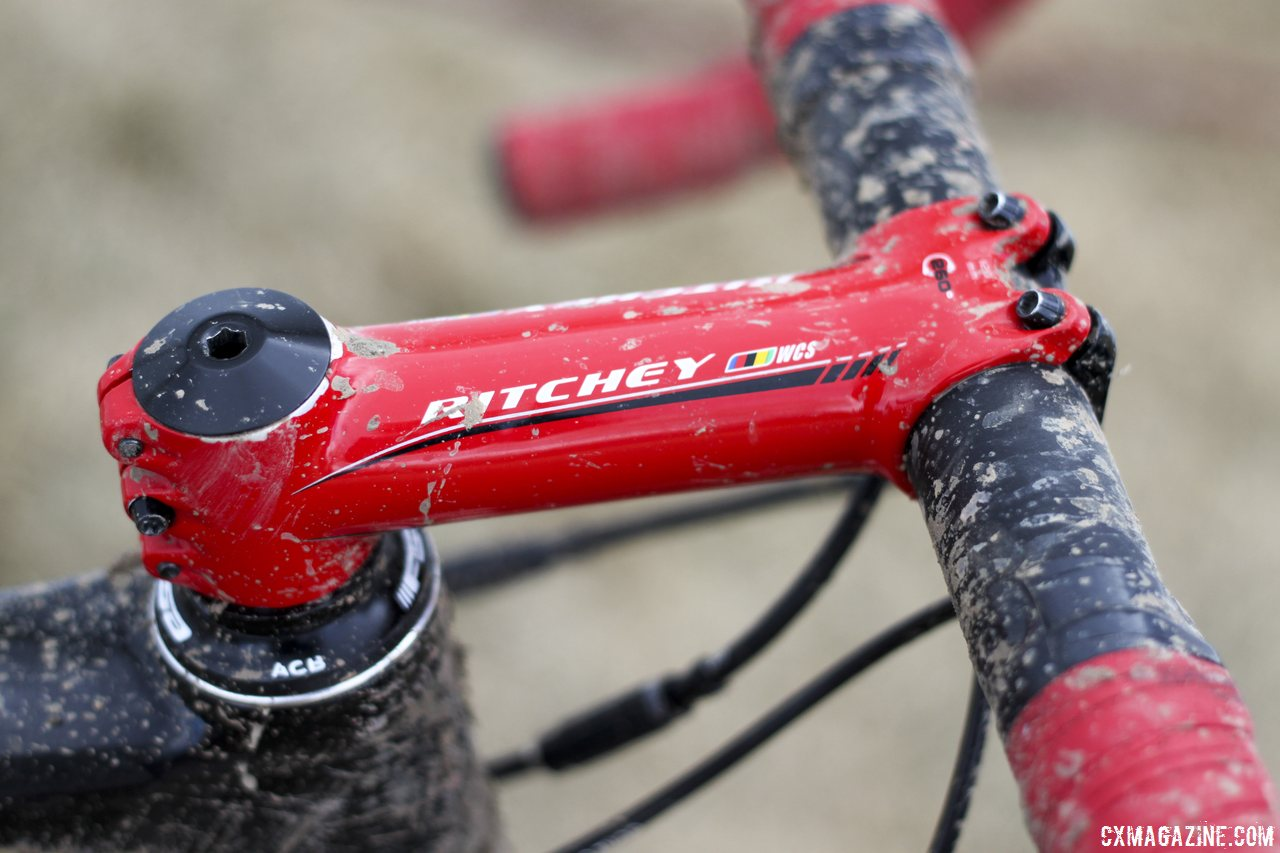 A striking wet red Ritchey C260 WCS stem - Jake Wells\' Ridley X-Fire Disc cyclocross bike. © Cyclocross Magazine