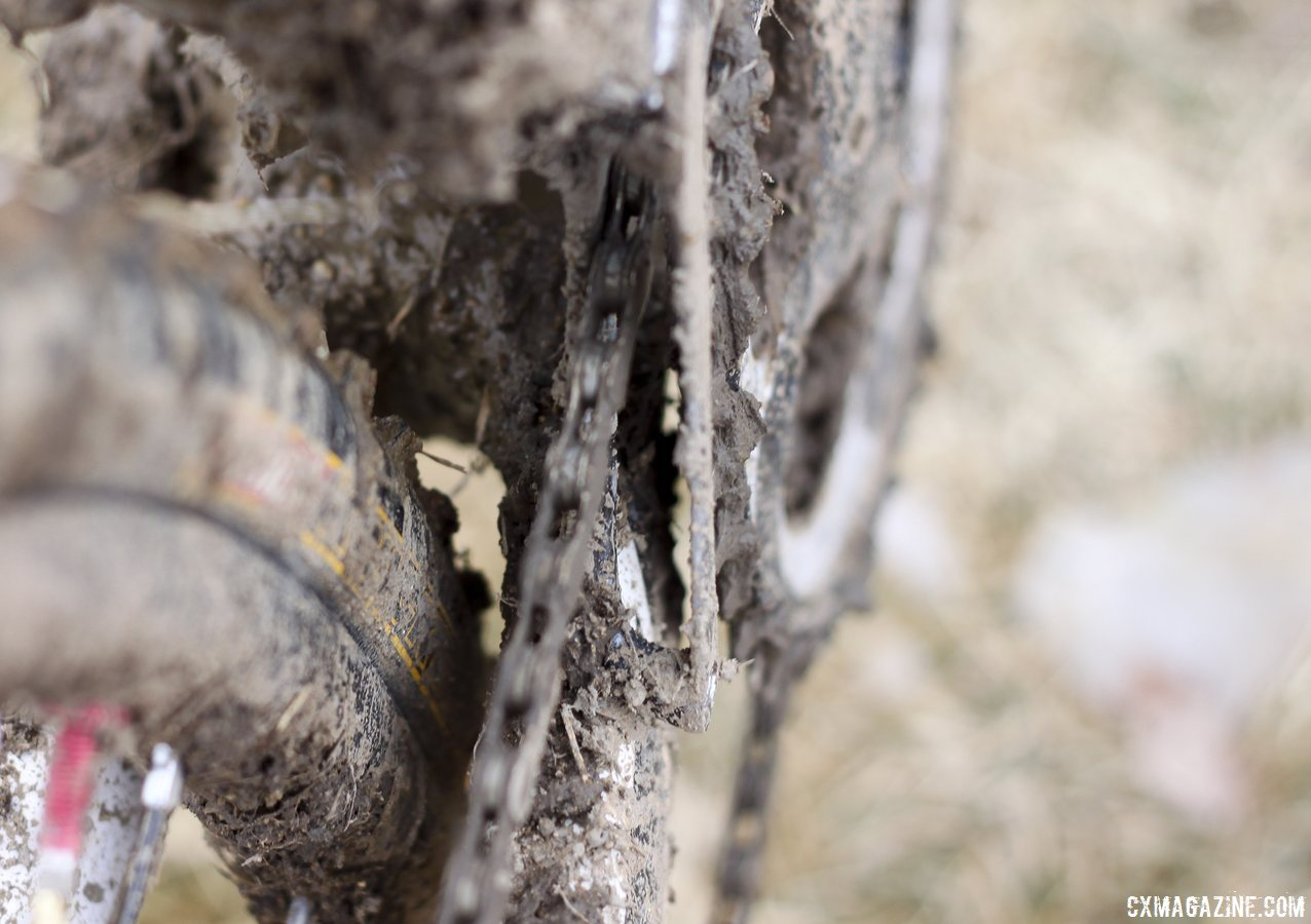 Adequate mud clearance on Jake Wells\' Ridley X-Fire Disc cyclocross bike. © Cyclocross Magazine