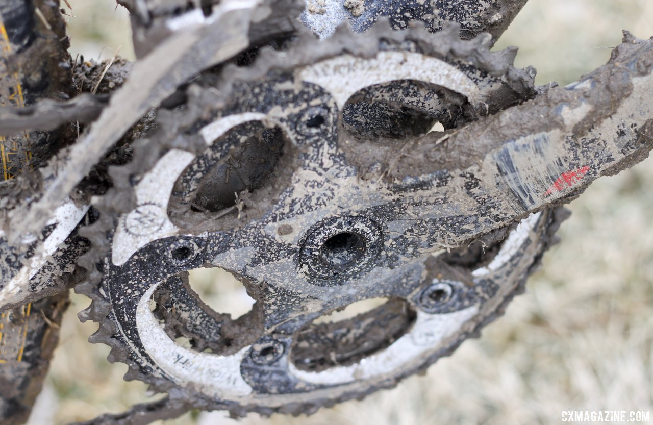 Wick Werks 34/44 chainrings on Jake Wells\' Ridley X-Fire Disc cyclocross bike. © Cyclocross Magazine