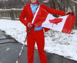 A Canadian fan at the Elite World Championships of Cyclocross. © Janet Hill