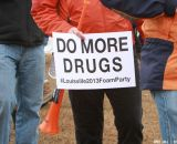 Sarcastic slogans at the Elite World Championships of Cyclocross. © Janet Hill