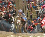 Trebon runs up the hill at the Elite World Championships of Cyclocross. © Janet Hill