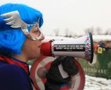 Megan is the American superfan at the Elite World Championships of Cyclocross. © Janet Hill