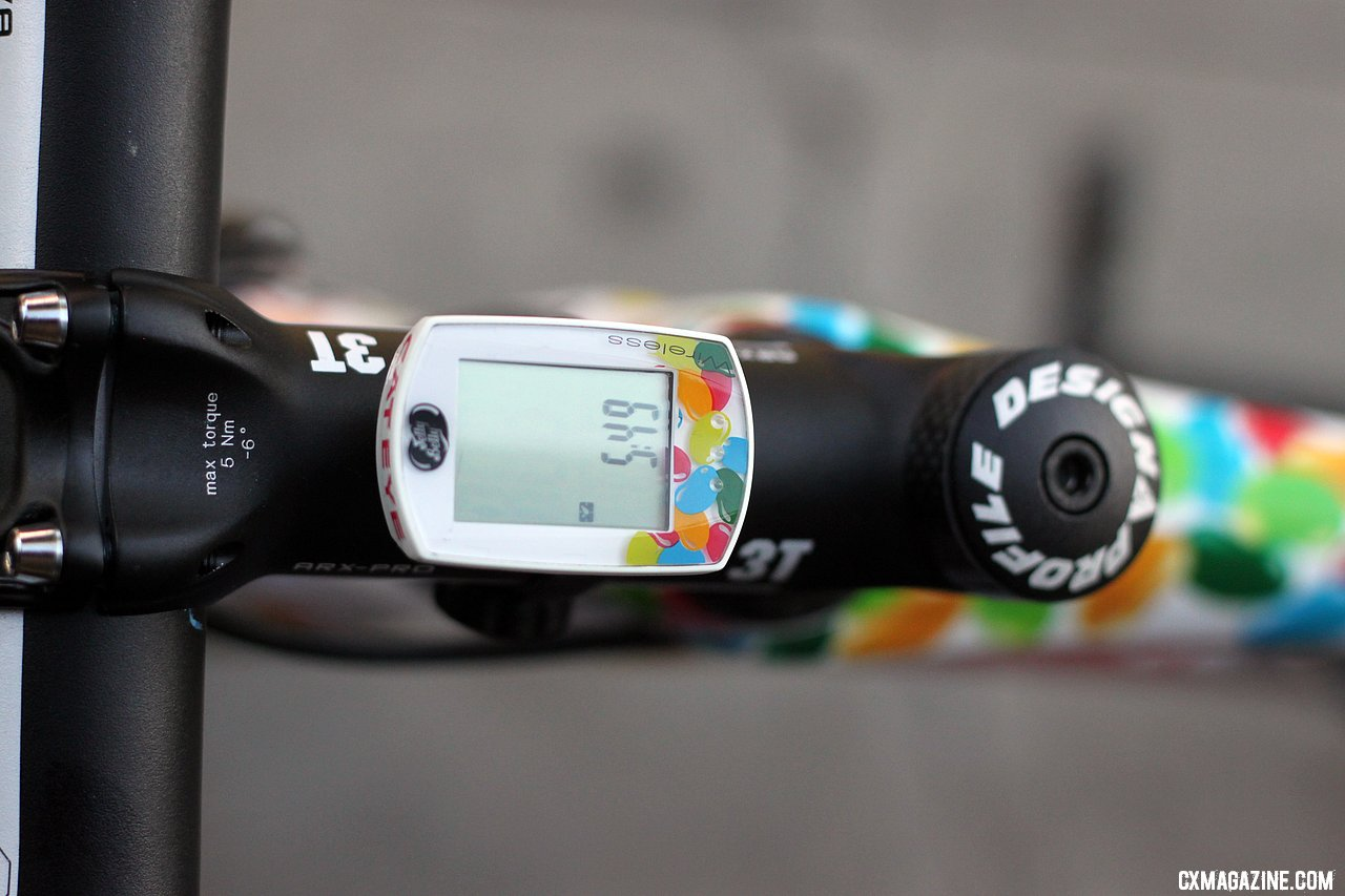 A Jelly Belly-branded cyclocomputer keeps track of the