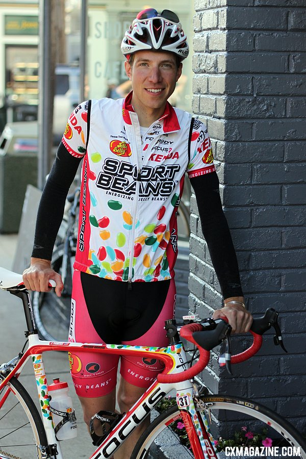 Powers poses with his Focus road bike after the Rapha Gentlemen\'s ride. © Cyclocross Maga