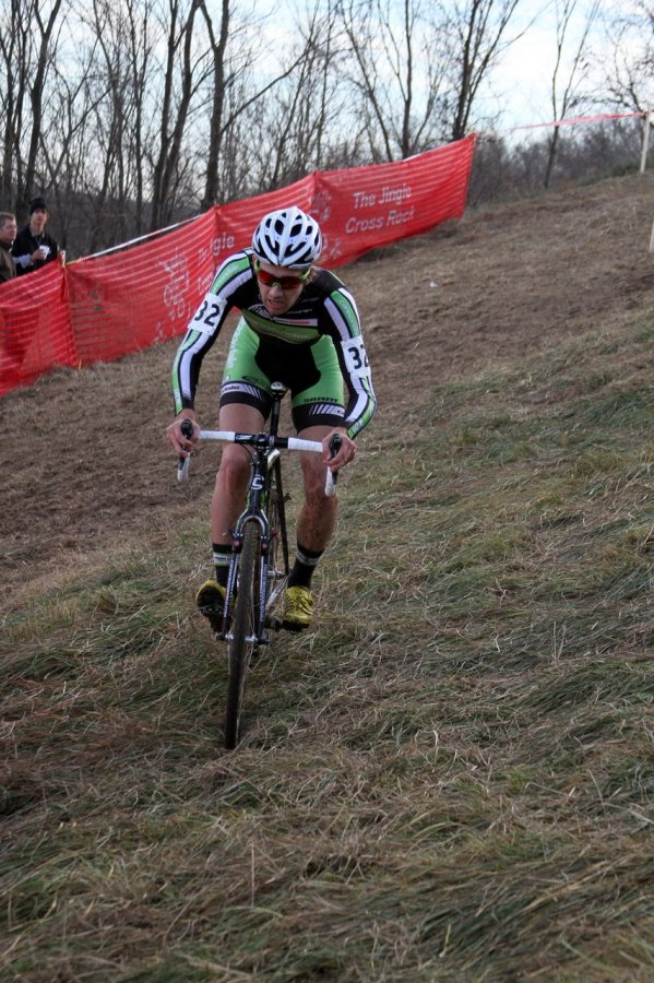 Jamey Driscoll already has a good lead in Lap 2 as he approaches a difficult turn on the Mt. Krumpet descent. Jingle Cross 2010 Day 3. © Amy Dykema