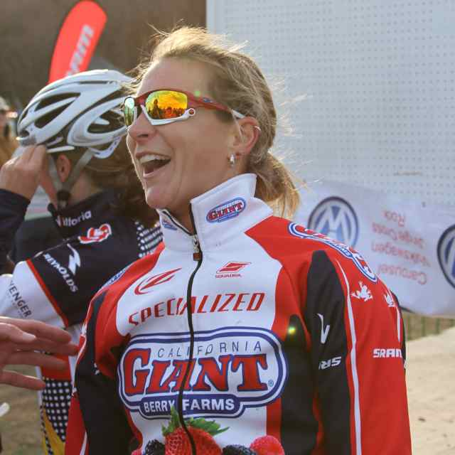 Meredith Miller is animated after taking second place on Day 3 of Jingle Cross © Amy Dykema