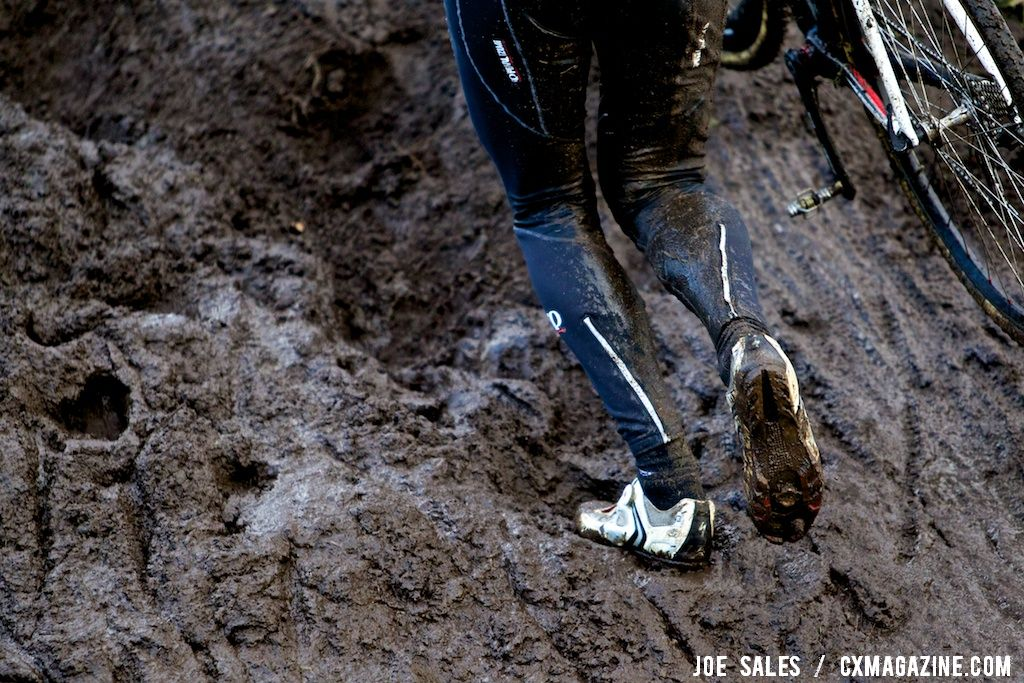 Thick mud greeted the later riders. The stairs got slimy late in the day. © Joe Sales