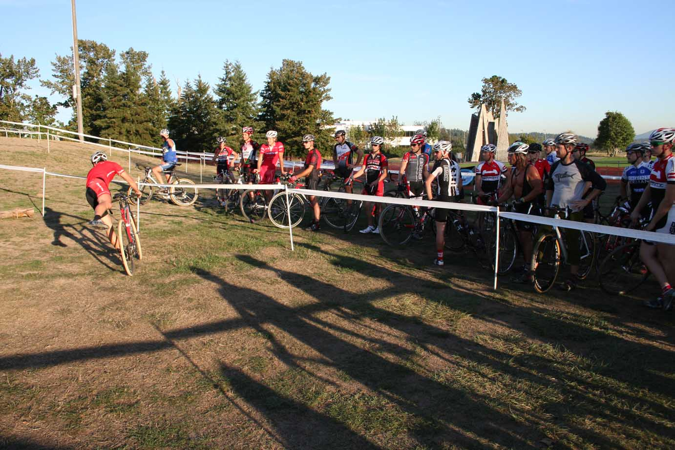 Jonathan Page shows the crowd an uphill corner dismount