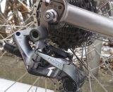 Nice detail on the Eriksen rear dropout. McCarthy uses the Force CX1 Type 2 rear derailleur, medium cage. He uses an 11-26 cassette for commuting, but McCarthy could go 11-32 for adventures.
