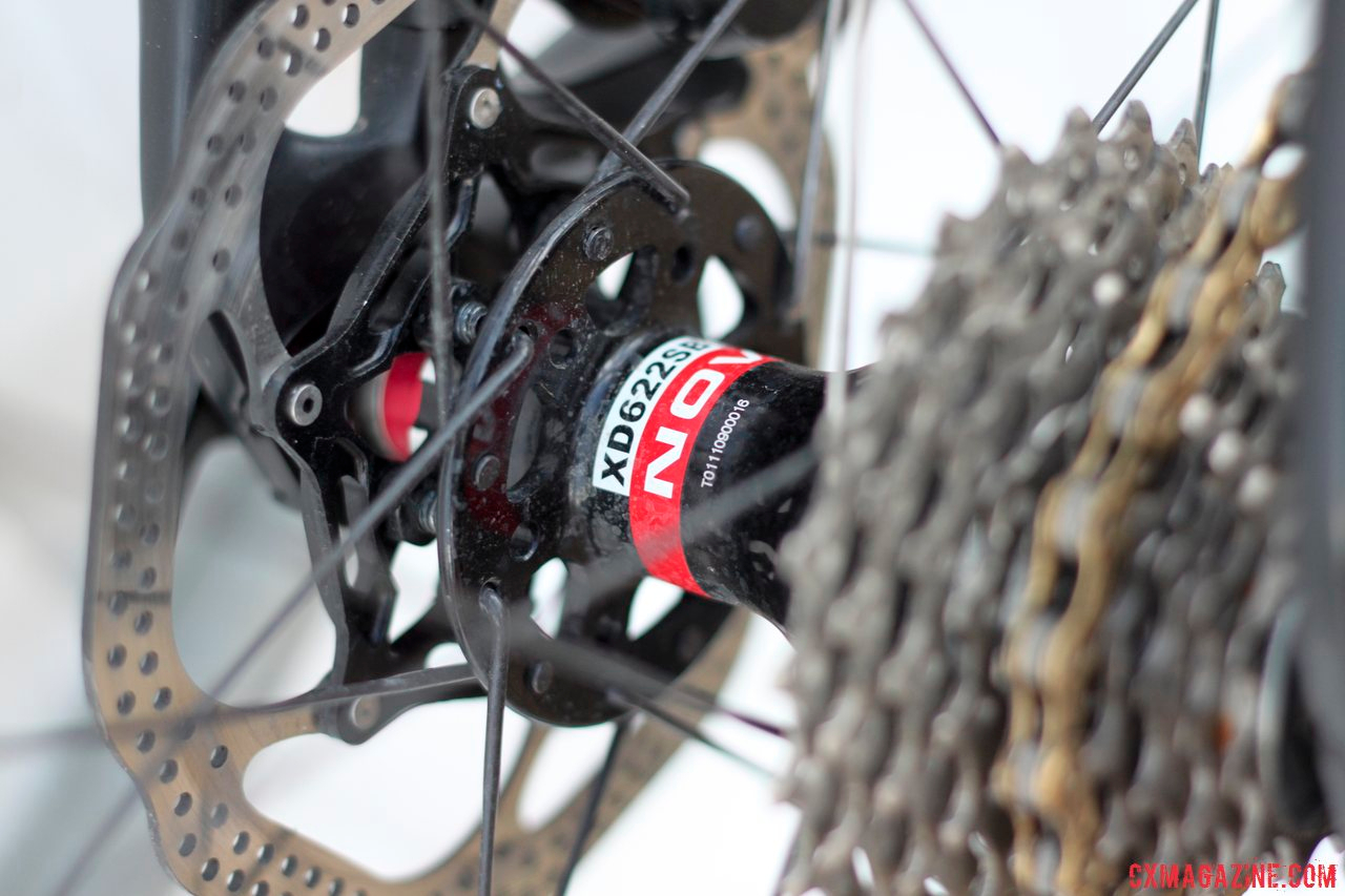 TRP HyRd Disc Brakes, 140mm rear rotor, and Novatec hubs on Justin Lindine\'s Redline Conquest Team Disc cyclocross bike. © Cyclocross Magazine