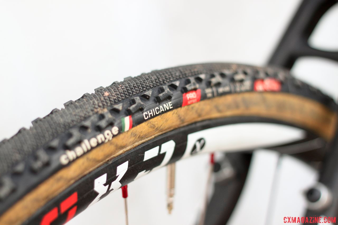 Challenge Chicane tubular tires on 2014 Masters 30-34 National Champion Justin Lindine\'s Redline Conquest Team Disc cyclocross bike. © Cyclocross Magazine