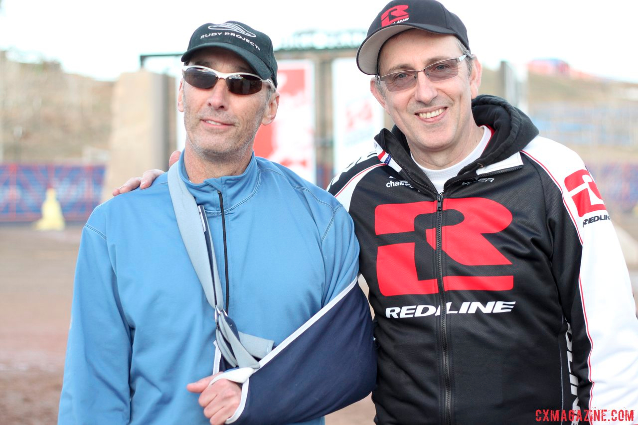 Redline\'s Tim Rutledge with Alan Hills, the man who got him into 'cross before most of us had heard of it. Now, he works to keep the younger generation race-ready. © Cyclocross Magazine