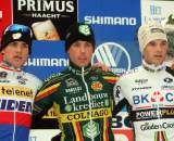The men's podium: Nys, Stybar, Albert - the same personnel as Worlds 2009. ? Bart Hazen