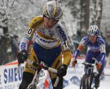 Kevin Pauwels tries to hold on to Nys and Meeusen. © Bart Hazen