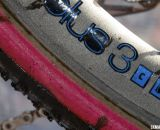 A closeup view of the coating on Bontrager's Aeolus 3's that KFC rode to victory with pink latex FMB tires. © Cyclocross Magazine