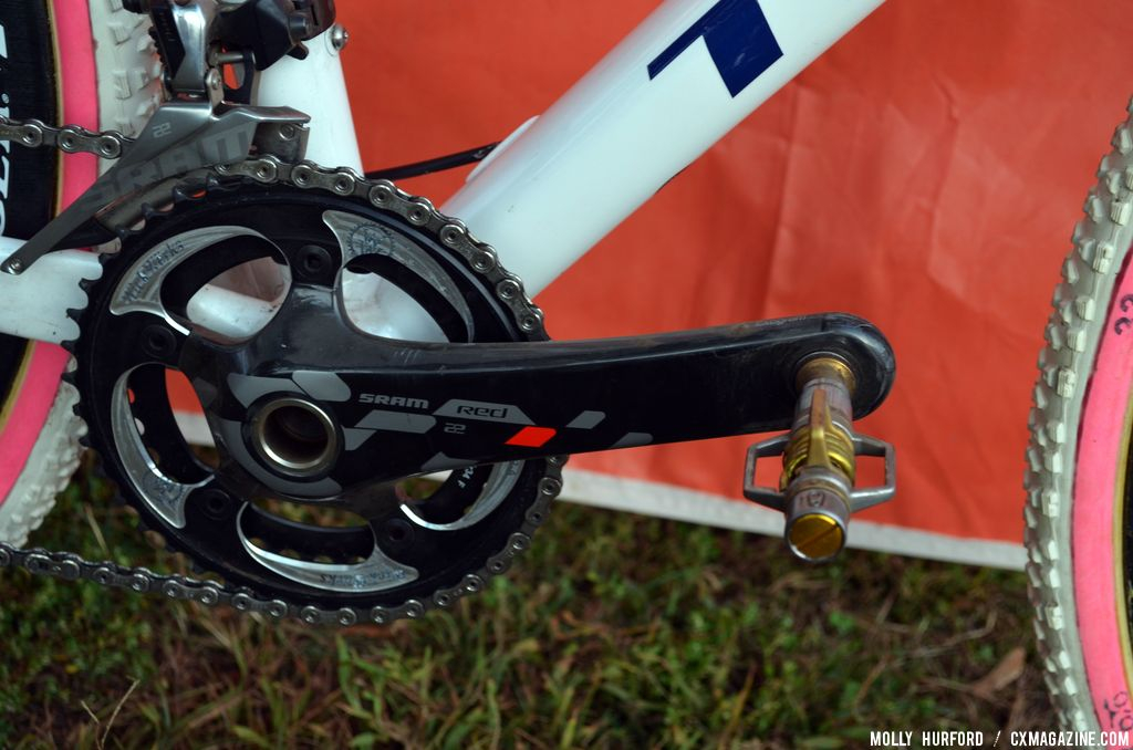 CrankBrothers Eggbeater 11 pedals on Katie Compton\'s Trek Crockett. © Cyclocross Magazine
