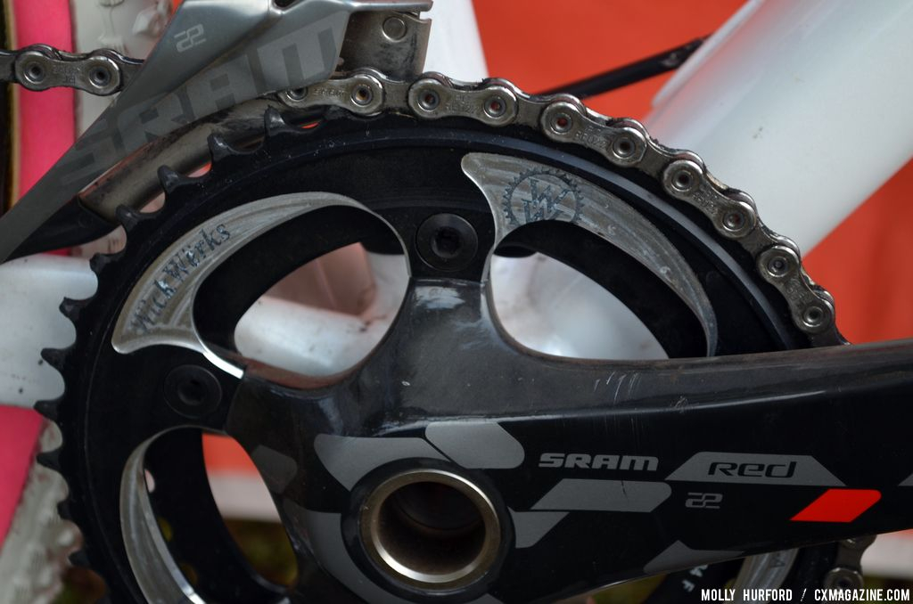 Prototype WickWerks 42t chainring for SRAM Exogram cranks on Katie Compton\'s Trek Crockett. © Cyclocross Magazine