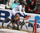 Katie Compton giving chase after early mechanicals and crashes. Koksijde Elite Women World Cup 11/28/2009 ©Bart Hazen