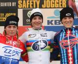The women's podium: 1) Marianne Vos, 2) Daphny van den Brand, 3) Katie Compton (Planet Bike) ?Bart Hazen