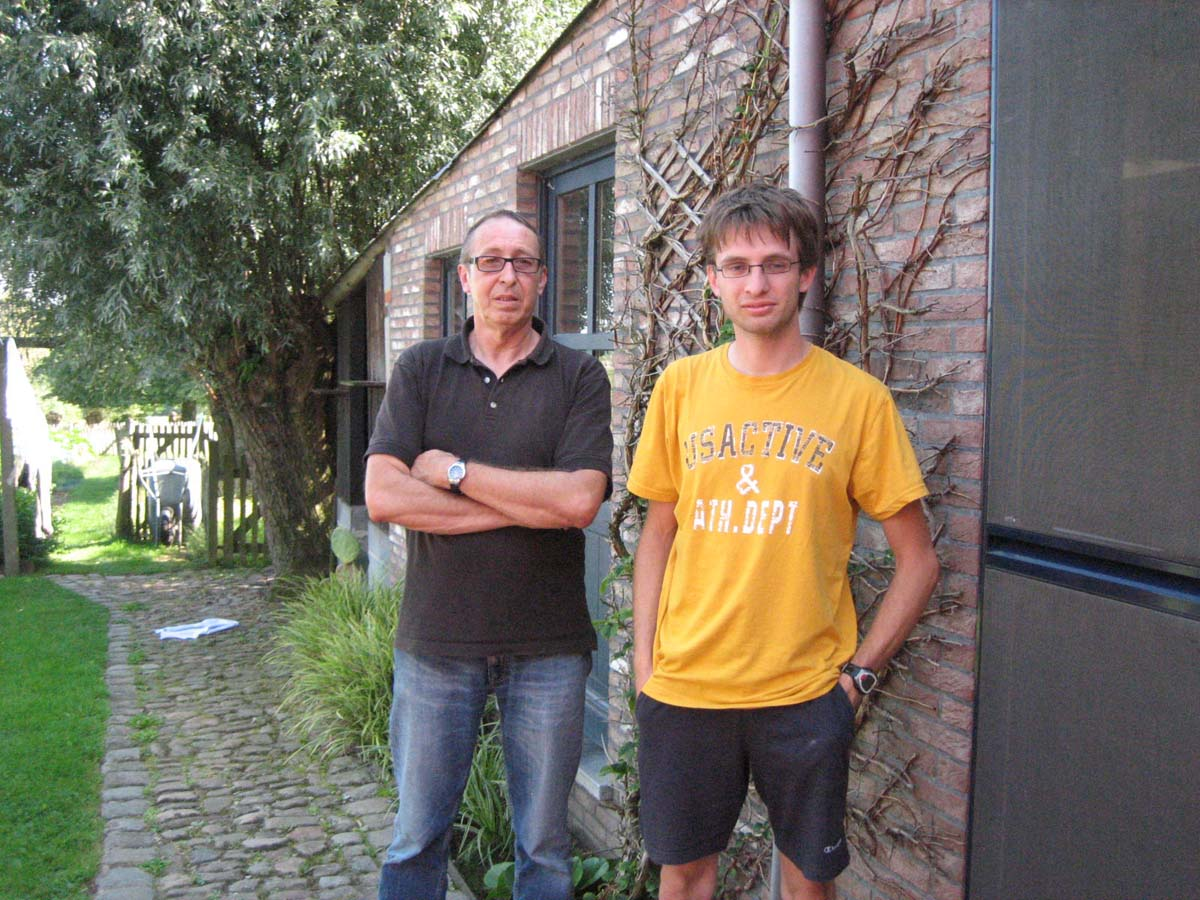 Simon and his dad Luc Simon at their home. by Christine Vardaros