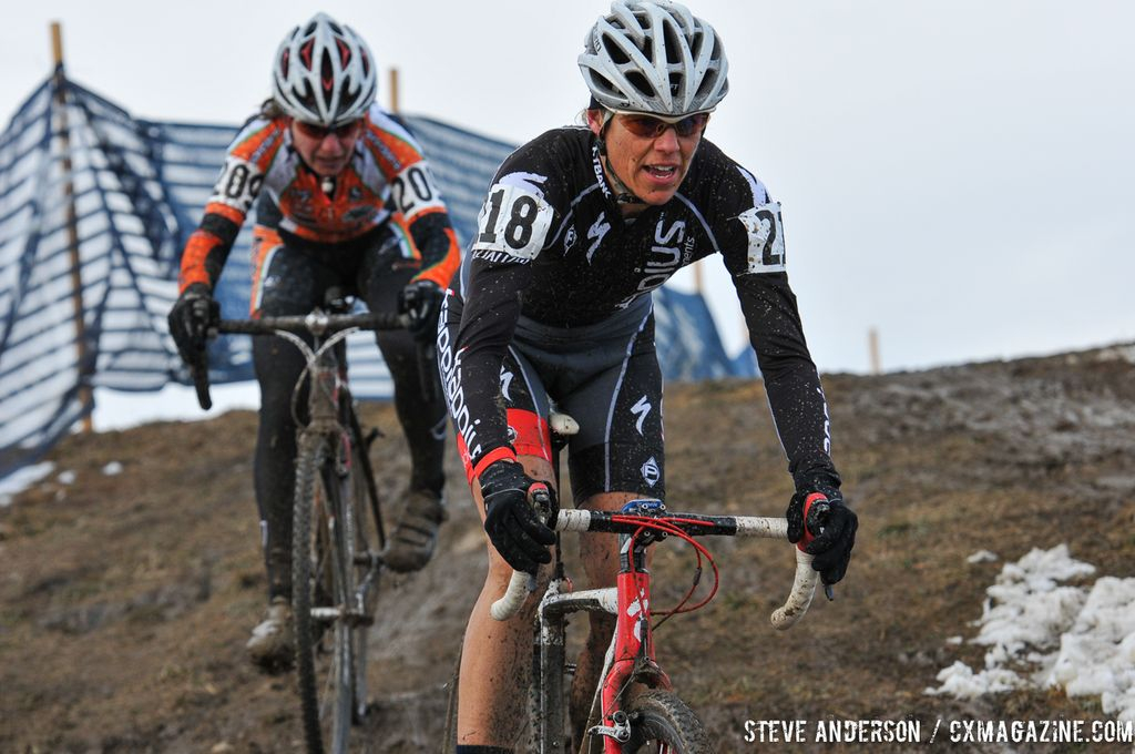 in the Masters Women 45-49 and 50-54 Hogan and Abel 45-49 and 50-54 at the 2014 National Cyclocross Championships. © Steve Anderson
