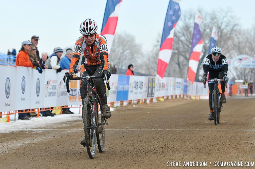 in the Masters Women 45-49 and 50-54 Abel in for second in the 45-49 and 50-54 at the 2014 National Cyclocross Championships. © Steve Anderson