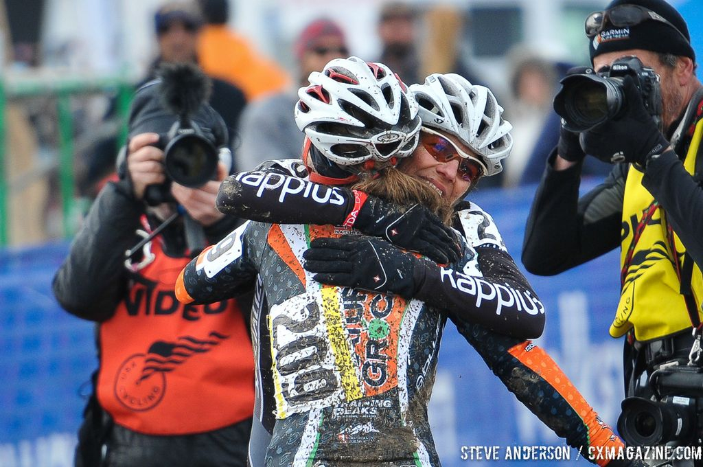 in the Masters Women 45-49 and 50-54 Hugging it out at the finish of the 45-49 and 50-54 at the 2014 National Cyclocross Chamin the Masters Women 45-49 and 50-54 Hugging it out at the finish of the 45-49 and 50-54 at the 2014 National Cyclocross Championships. © Steve Andersonpionships. © Steve Anderson