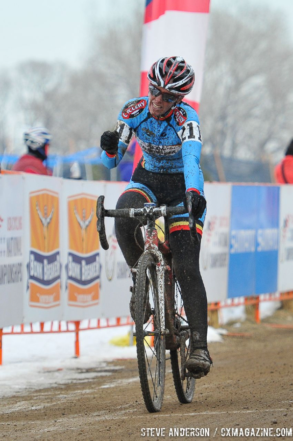 Trombley celebrating at the 45-49 and 50-54 at the 2014 National Cyclocross Championships. © Steve Anderson