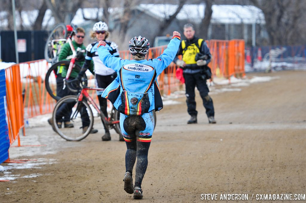Happy to be done in the 45-49 and 50-54 at the 2014 National Cyclocross Championships. © Steve Anderson