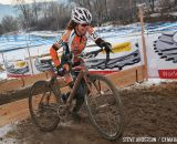 in the Masters Women 45-49 and 50-54 Abel hitting the barriers at the 45-49 and 50-54 at the 2014 National Cyclocross Championships. © Steve Anderson