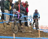 in the Masters Women 45-49 and 50-54 Orgeldinger on the off-camber in the 45-49 and 50-54 at the 2014 National Cyclocross Championships. © Steve Anderson