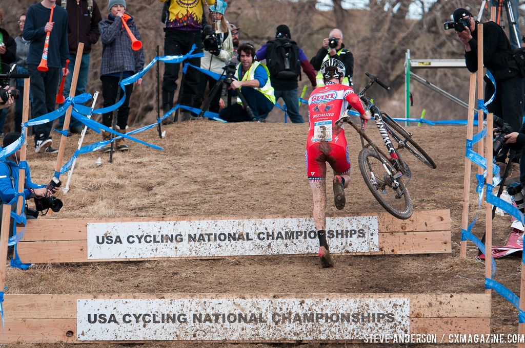 Owen up the steps in U23 2014 Cyclocross National Championships. © Steve Anderson