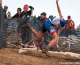 A graceful moment in a crash in U23 2014 Cyclocross National Championships. © Steve Anderson