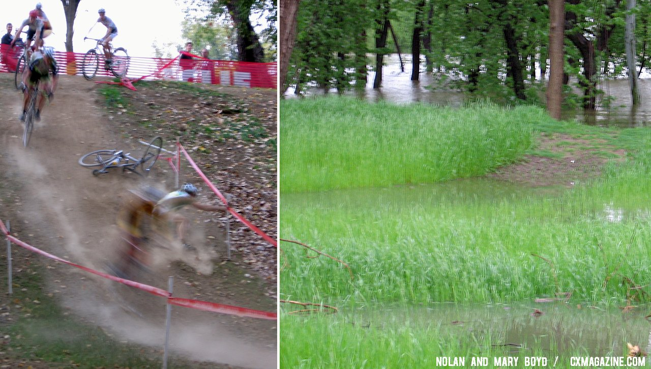 The hills of the Louisville USGP cyclocross course are almost completely submerged. © Mary and Nolan Boyd
