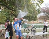 Danny Summerhill celebrates with a shower of champagne © Amy Dykema