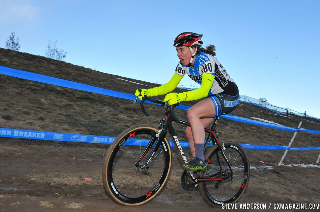 Erica Zaveta of Brevard in the first ever Collegiate Relay at the 2014 National Cyclocross Championships. © Steve Anderson