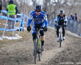 Myrah leading the chase of Robson. 2014 Masters 45-49 Cyclocross National Championships. © Steve Anderson
