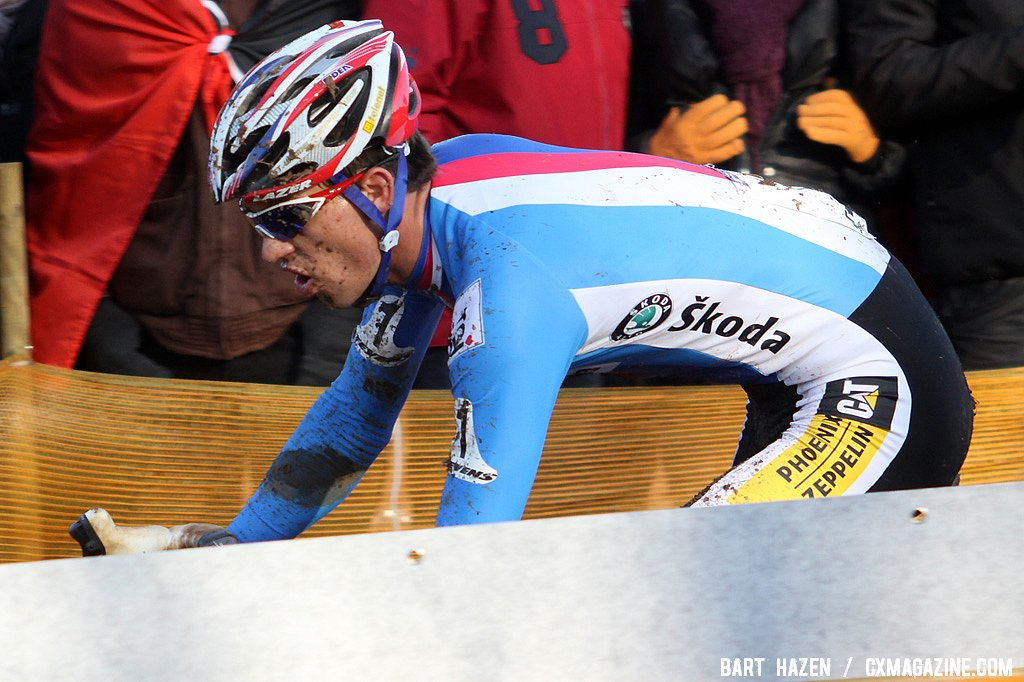 Zdenek Stybar taking the final turn before turning into the final lap