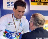 World Champion Zdenek Stybar gets the congratulations of UCI pre