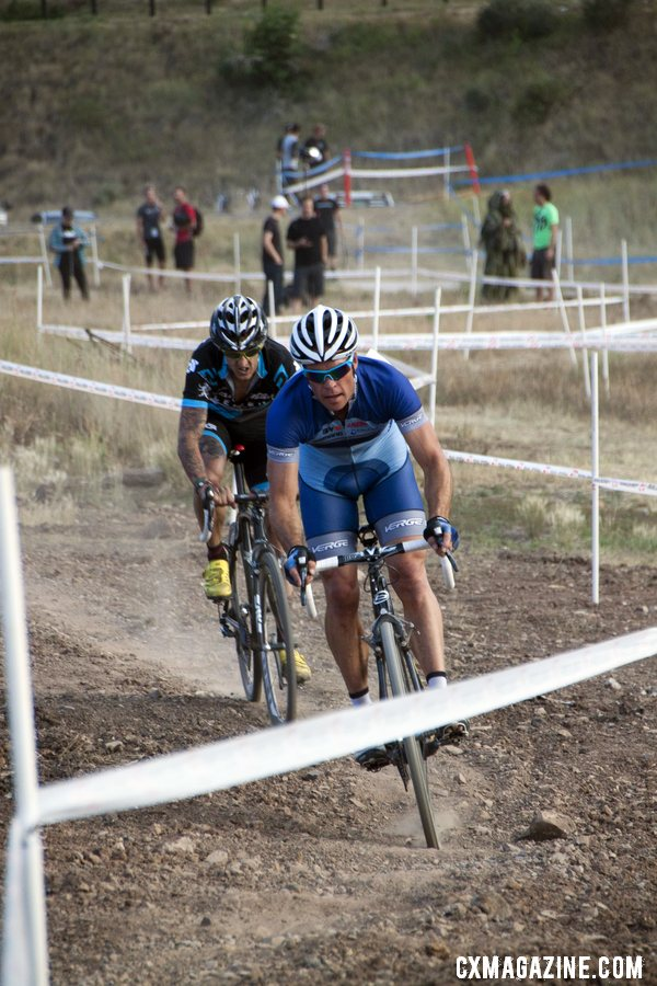 Page and Berden battle it out. 2012 Raleigh Midsummer Night Cyclocross Race. @Cyclocross Magazine