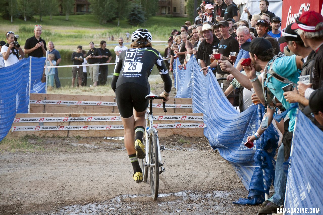 Jamey Driscoll steps through. 2012 Raleigh Midsummer Night Cyclocross Race. @Cyclocross Magazine