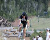 Trebon takes the lead in his new kit. 2012 Raleigh Midsummer Night Cyclocross Race. @Cyclocross Magazine